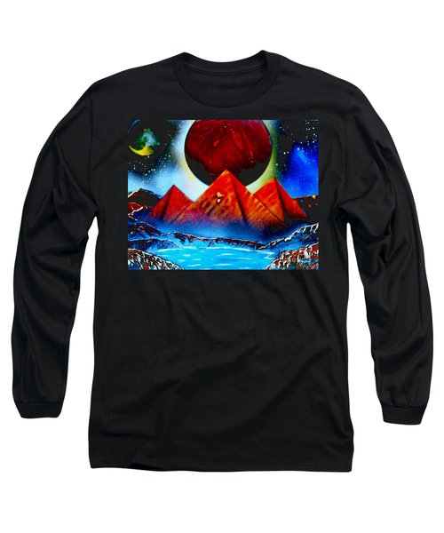 Long Sleeve T-Shirt featuring the painting Pyramids 4663 E by Greg Moores
