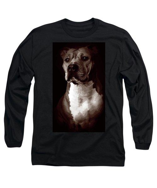 Quad Tone Pitbull Portrait Long Sleeve T-Shirt