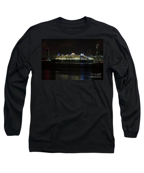 Queen Mary 2 At Night In Liverpool Long Sleeve T-Shirt