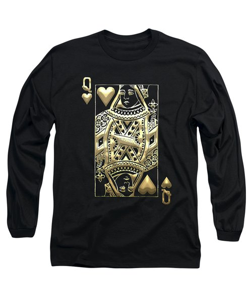 Queen Of Hearts In Gold On Black Long Sleeve T-Shirt