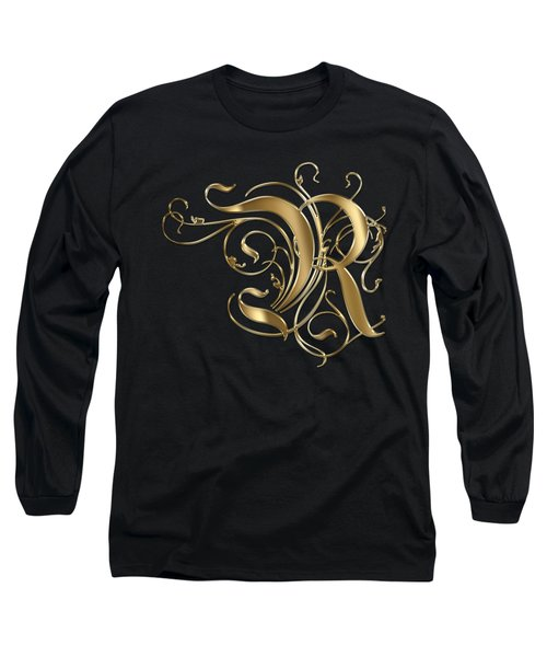 R Golden Ornamental Letter Typography Long Sleeve T-Shirt by Georgeta Blanaru