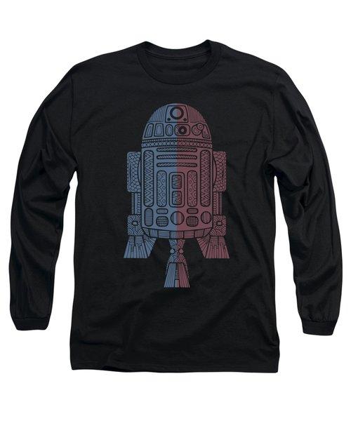 R2d2 - Star Wars Art - Blue, Red Long Sleeve T-Shirt