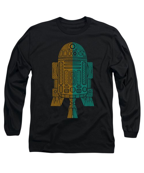 R2d2 - Star Wars Art - Brown, Blue Long Sleeve T-Shirt