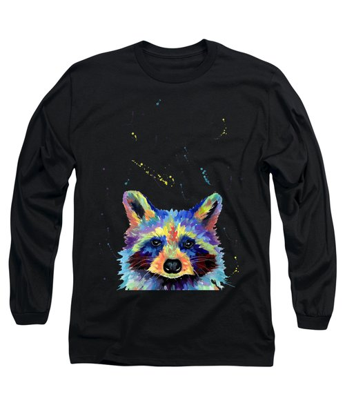 Raccoon Head In Multicolor Long Sleeve T-Shirt
