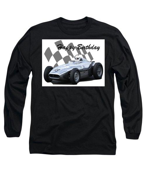 Racing Car Birthday Card 7 Long Sleeve T-Shirt by John Colley
