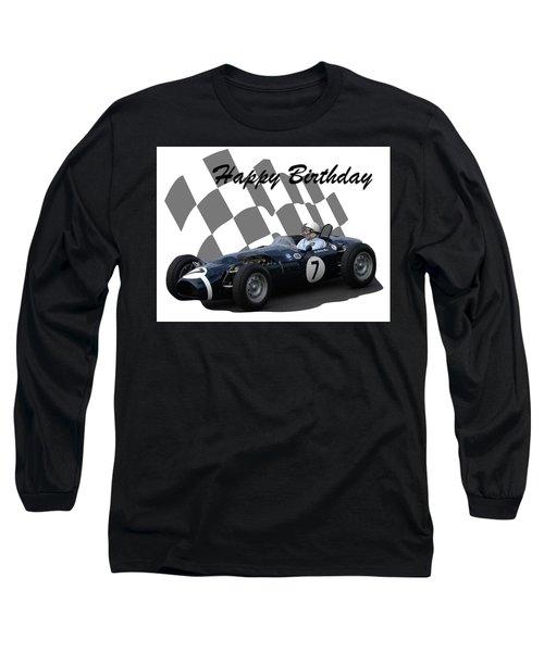 Racing Car Birthday Card 8 Long Sleeve T-Shirt by John Colley