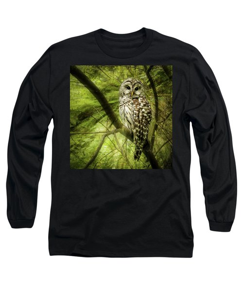 Radiating Barred Owl Long Sleeve T-Shirt by Jean Noren