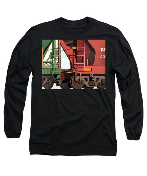 Railroad Cars - Realistic Train Oil Painting Long Sleeve T-Shirt