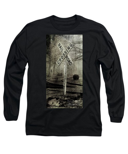Railroad Crossing Long Sleeve T-Shirt by Michael Eingle