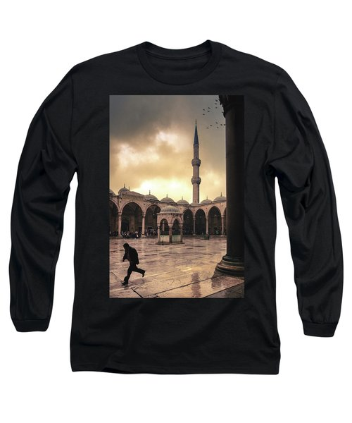 Rain At The Blue Mosque Long Sleeve T-Shirt