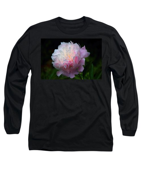 Long Sleeve T-Shirt featuring the photograph Rain-kissed Peony by Byron Varvarigos