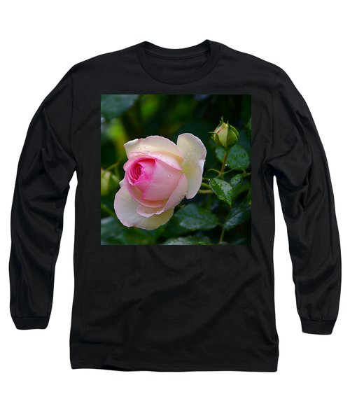 Long Sleeve T-Shirt featuring the photograph Rain-kissed Rose by Byron Varvarigos