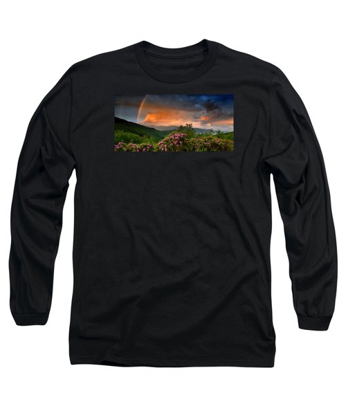 Rainbow And Rhododendrons On The Parkway Long Sleeve T-Shirt