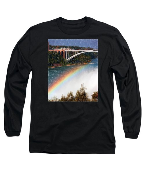 Long Sleeve T-Shirt featuring the photograph Rainbow Bridge - Niagara Falls by John Freidenberg