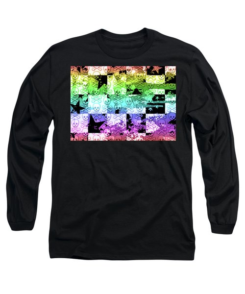 Rainbow Checker Skull Splatter Long Sleeve T-Shirt by Roseanne Jones