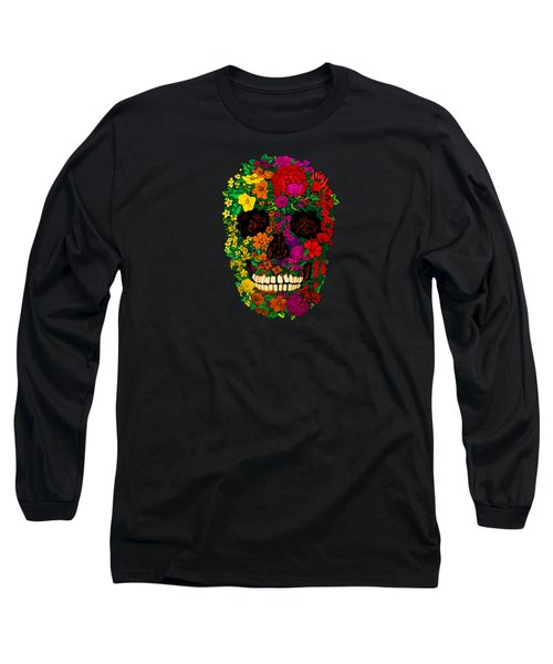 Rainbow Flowers Sugar Skull Long Sleeve T-Shirt by Three Second