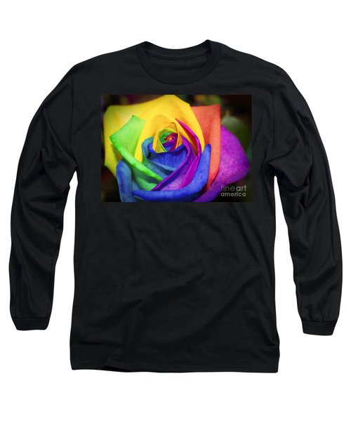 Rainbow Rose In Paint Long Sleeve T-Shirt