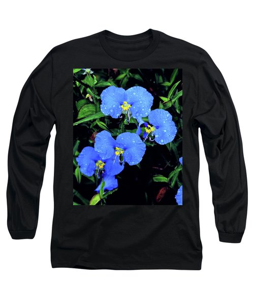 Raindrops In Blue Long Sleeve T-Shirt