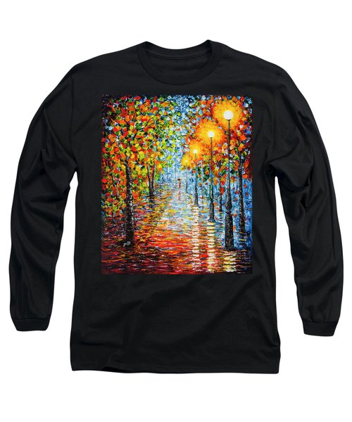 Long Sleeve T-Shirt featuring the painting Rainy Autumn Evening In The Park Acrylic Palette Knife Painting by Georgeta Blanaru