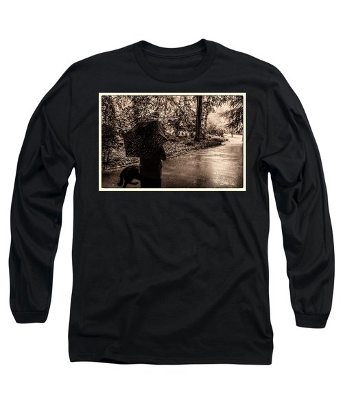 Long Sleeve T-Shirt featuring the photograph Rainy Day - Woman And Dog by Madeline Ellis