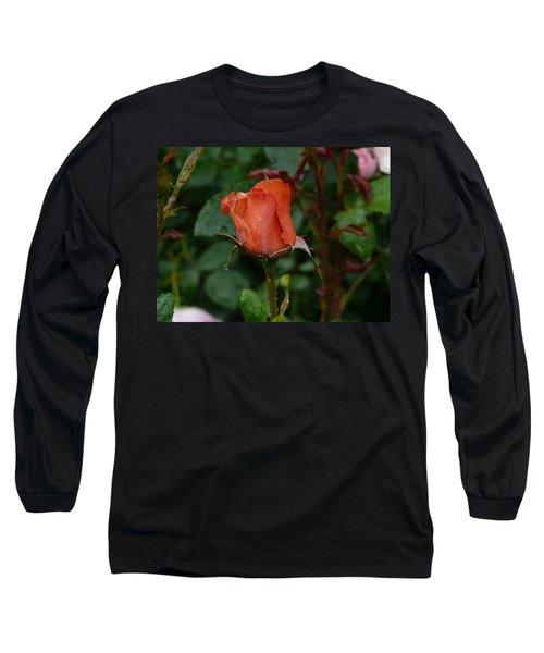 Rainy Rose Bud Long Sleeve T-Shirt by Valerie Ornstein
