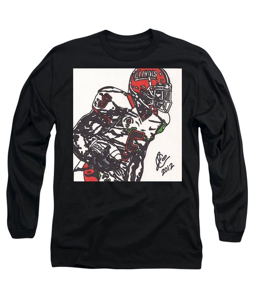 Long Sleeve T-Shirt featuring the drawing Rashard Mendenhall 1 by Jeremiah Colley