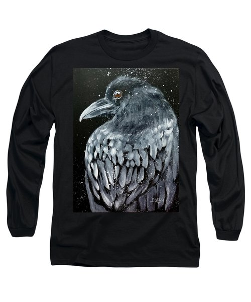 Raven In Snow Long Sleeve T-Shirt