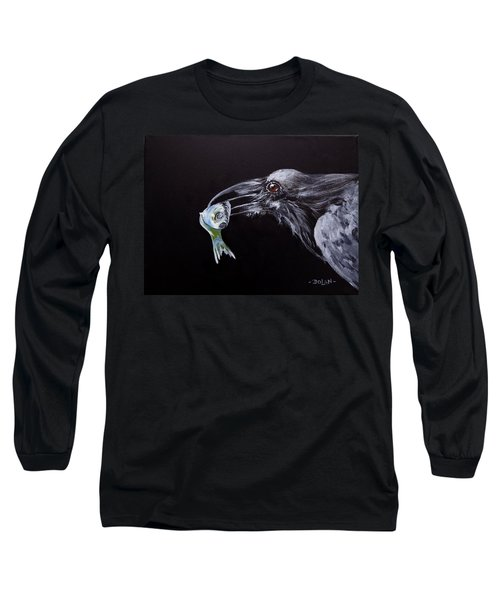 Raven With Fish Long Sleeve T-Shirt