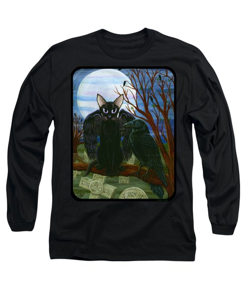 Long Sleeve T-Shirt featuring the painting Raven's Moon Black Cat Crow by Carrie Hawks