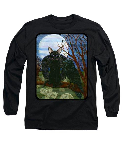 Raven's Moon Black Cat Crow Long Sleeve T-Shirt
