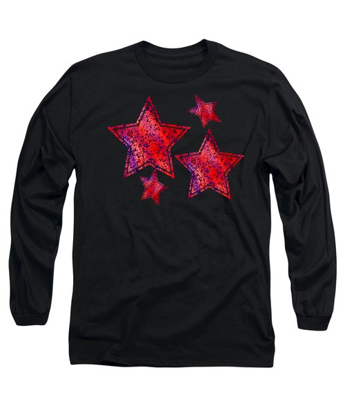 Red And Blue Splatter Abstract Long Sleeve T-Shirt