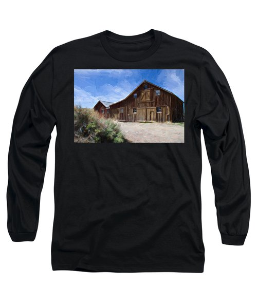Long Sleeve T-Shirt featuring the photograph Red Barn Of Bodie by Lana Trussell