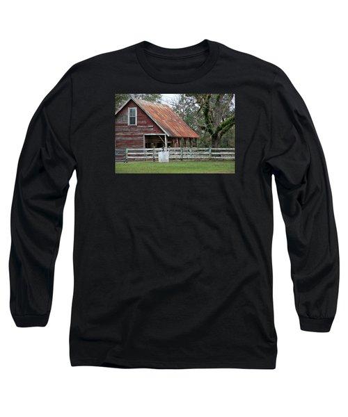 Red Barn With A Rin Roof Long Sleeve T-Shirt by Lynn Jordan