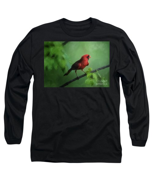 Red Bird On A Hot Day Long Sleeve T-Shirt by Lois Bryan