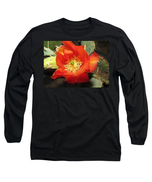 Red Bloom 1 - Prickly Pear Cactus Long Sleeve T-Shirt