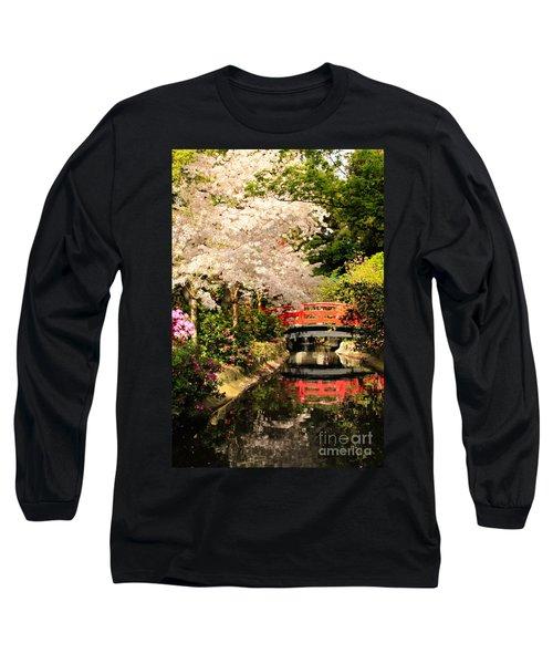 Red Bridge Reflection Long Sleeve T-Shirt by James Eddy