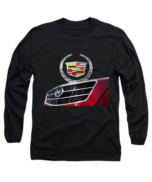 Red Cadillac C T S - Front Grill Ornament And 3d Badge On Black Long Sleeve T-Shirt