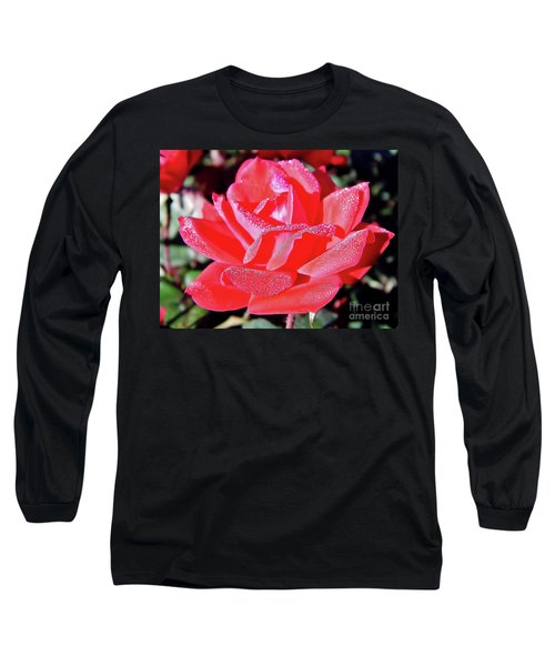 Red - Dew Covered  - Rose Long Sleeve T-Shirt