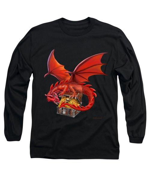 Red Dragon's Treasure Chest Long Sleeve T-Shirt by Glenn Holbrook