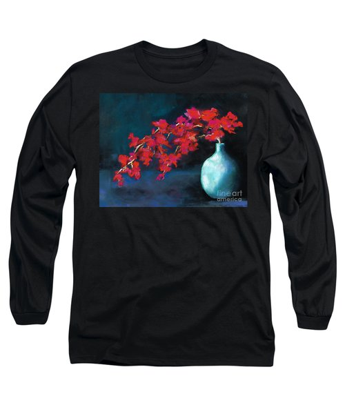 Red Flowers Long Sleeve T-Shirt by Frances Marino