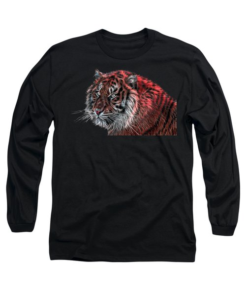 Red Fractal Tiger Long Sleeve T-Shirt