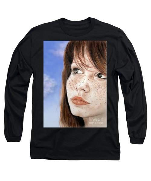 Red Hair And Freckled Beauty Version II Long Sleeve T-Shirt by Jim Fitzpatrick