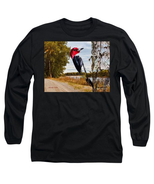 Long Sleeve T-Shirt featuring the photograph Red Headed Woodpecker In Wilderness by Annie Zeno