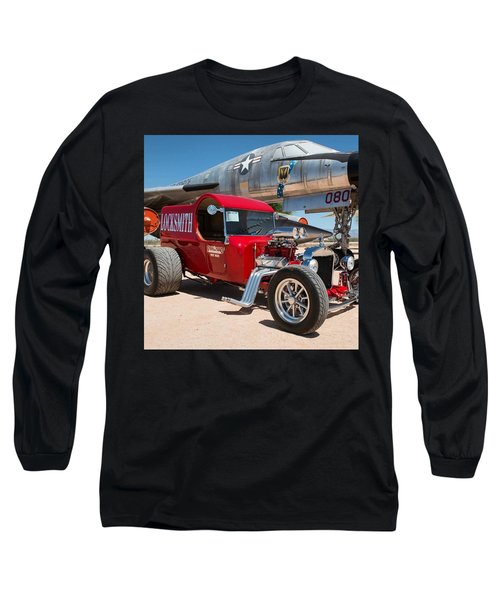 Red Hot Rod Next To Vintage Airplane  Long Sleeve T-Shirt