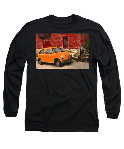 Red House With Orange Car Long Sleeve T-Shirt