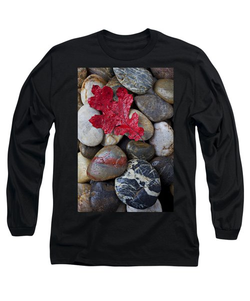 Red Leaf Wet Stones Long Sleeve T-Shirt by Garry Gay