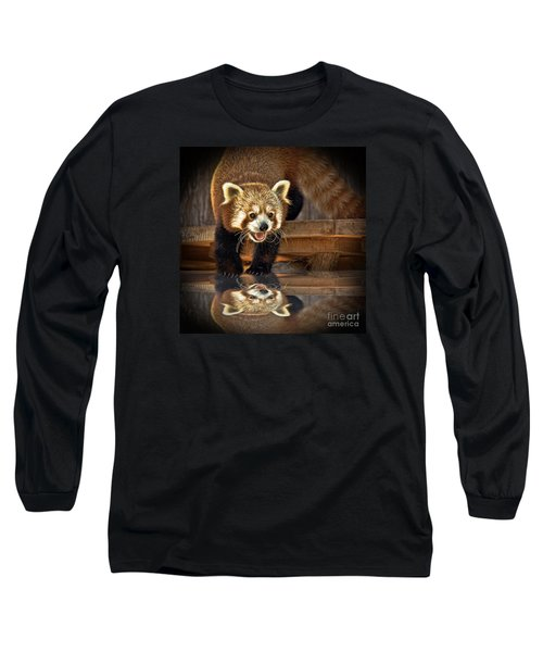 Red Panda Altered Version Long Sleeve T-Shirt by Jim Fitzpatrick
