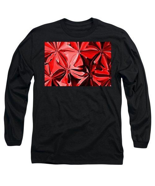 Red Pinched And Gathered Long Sleeve T-Shirt