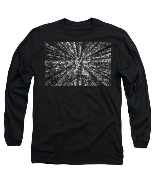 Red Pine Tree Tops In Black And White Long Sleeve T-Shirt