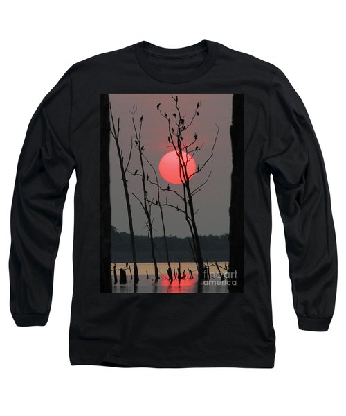 Red Rise Cormorants Long Sleeve T-Shirt by Roger Becker